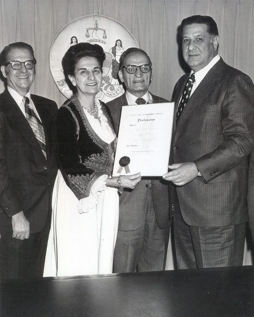 Peter Sfarnas, Mr. and Mrs. Pavlos, and Mayor Rizzo