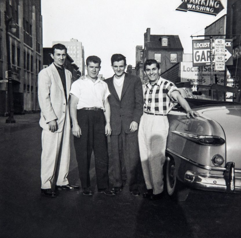 Four Greek men and a classic car